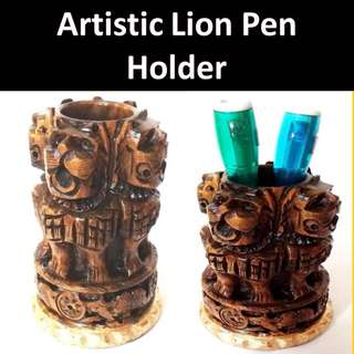 wooden art Desk top pen Holder cum display  ashoka tri lion emblem