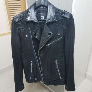 男裝皮褸黑色羊皮 leather biker jacket KOYO