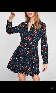 Europe and the United States new loose thin lapel long sleeves printed dress skirt