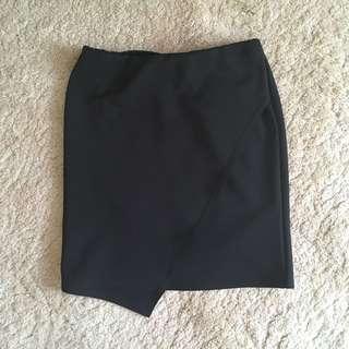 Black Bodycon Asymmetrical Skirt