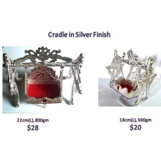 radha krishna  temple Cradle throne in metal silver finishing