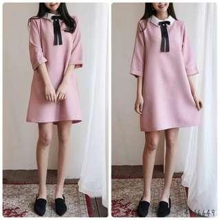 蝴蝶結連身裙(3色: Pink/Cream/Navy)