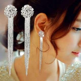 Diamond crystal long earrings