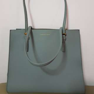 Charles and Keith  Oversized Structured Tote Bag (Grey)