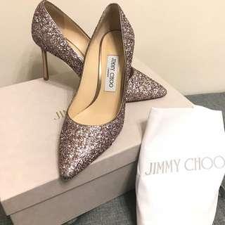 100% real Jimmy Choo pumps 閃粉高跟鞋 女仔夢想婚鞋