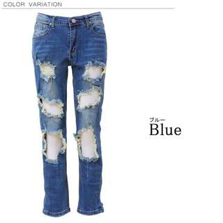 Denim crashes processing damage hole skin showing sexy trend popular nipple slip show adult casual jeans bottom and broken stretch denim pants