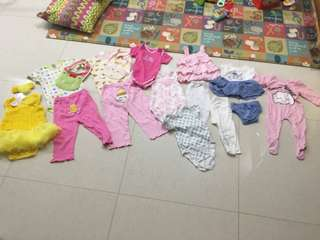 Baby girl's new and preloved clothes