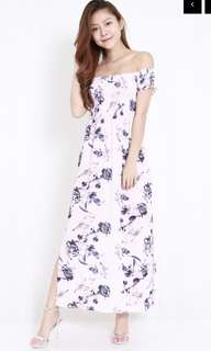 Pink floral smoked offside maxi dress