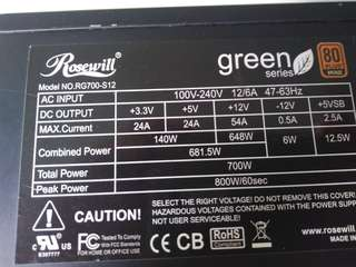 PSU 700W Rosewill green 700w (peak 800w) 80plus bronze