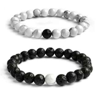 Howlite and lava beads bracelet distace bracelet