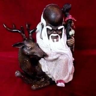 寿星公与梅花鹿  - 辉煌的石湾陶瓷艺