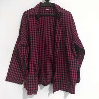 Oversized Plaid Polo