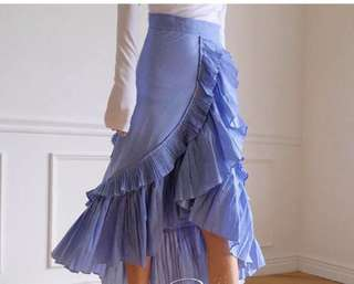 Korean blue ruffle skirt