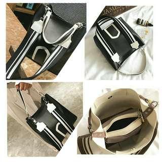 Tas TOTE BAG/ BLACK/WHITE Style Korea