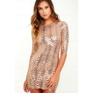Lulus Gold Sequins Dress