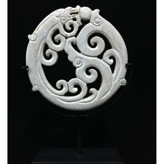 Stone Carved Bi Disc Decor