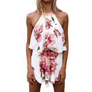Floral Print Halter Tank Top + Shorts Culottes Sets