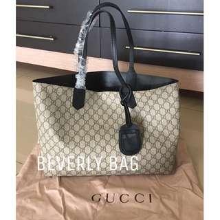 jual tas Gucci Tote LEATHER MIRROR - black