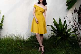 Mustard yellow summer toga dress