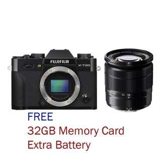 New Fujifilm X-T20 Mirrorless Camera + 16-50mm Kit Lens (Free 32GB + Extra Battery)