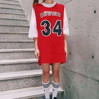 Instock •BN• Ulzzang oversize red jersey dress