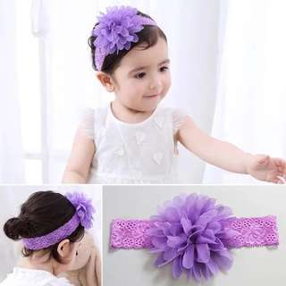 Baby Girl Purple Flower Chiffon Lace Headband