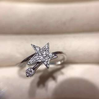 全新MaBelle 出品 18K白金 星星 流星 鑽石 戒指