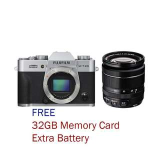 New Fujifilm X-T20 Mirrorless with 18-55mm F2.8-4 LM OIS Kit Lens (Free 32GB + Ori Battery)