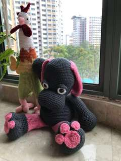 "Crochet Plushie ""Farewell Rooster and Welcome Doggy"""