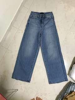 Uniqlo high rise wide leg jeans