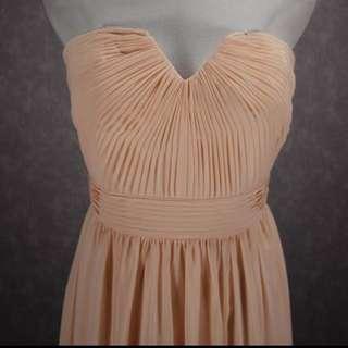 Salmon Orange Pink Bridesmaids Long Gown