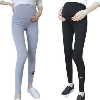 CUTE CAT EMBROIDERED MATERNITY LEGGING PANTS