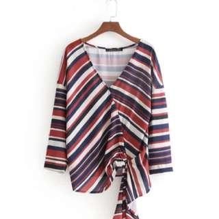 🔥Inspired Zara new dula lapel V collar striped tie blouse