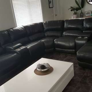 Cinema style black genuine leather lounge suite with 2 recliners and 1 chaise