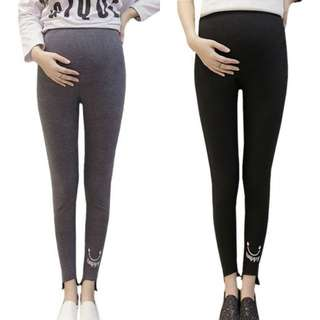 HAPPY SMILEY EMBROIDERED MATERNITY LEGGING PANTS