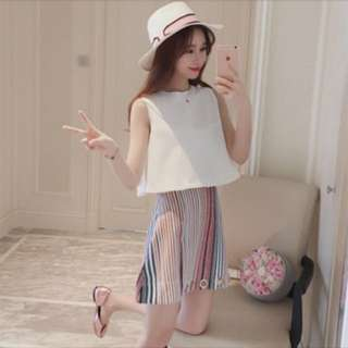 2 pieces set; cropped top striped skirts; blouse Sleeveless singlet Tshirt; Korean ulzzang kpop; trendy fashionable; woman women girls ladies female