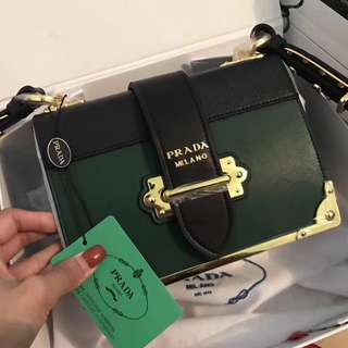 Prada box bag in green