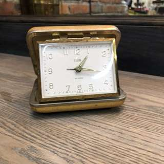 1930's Vintage Elgin Clock Windup Travel Alarm Clock Tan Case