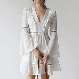 V ruffle dress