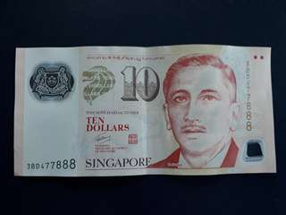 S/No. 3BD477888 Singapore $10 Currency Note. Please make an offer.