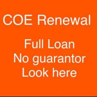 Full loan for renew Coe , No down payment needed