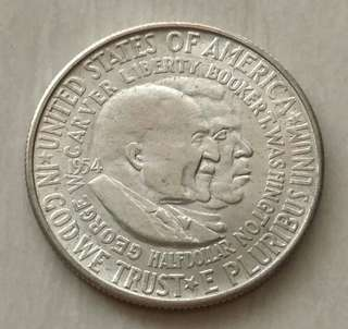 USA 1954S Washington-Carver Half Dollar Silver Coin With Good Details