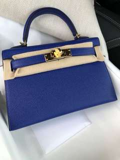 Hermes Kelly 20 blue electric epsel GHW A