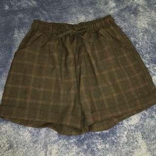 Black Checkered Shorts