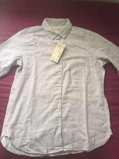 Muji long sleeved double layer gauze shirt