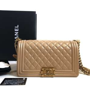 CHANEL Boy Calfskin Gold GHW #20 • Comes with holo, card, booklet, dust bag & box