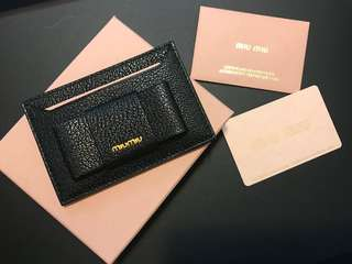 MIU MIU Bow embellished textured leather card holder