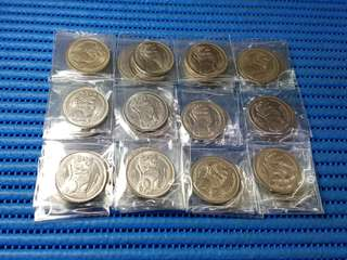 50X Singapore $1 Stylised Lion Coin ( Lot of 50 Pieces: 1967, 1968, 1969, 1981 & 1982 )