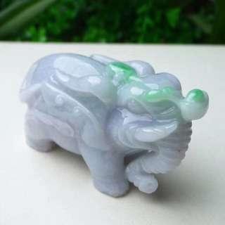 缅甸天然翡翠A货 飘阳绿大象摆件