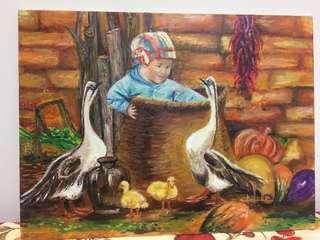 農家樂--油畫不連框